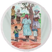 Down The Red Road And Past The Magnolia Tree Round Beach Towel