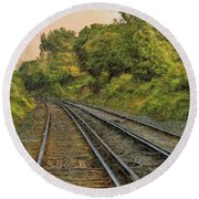 Round Beach Towel featuring the photograph Down The Track by Leigh Kemp
