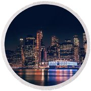 Downtown At Night Round Beach Towel