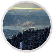 Round Beach Towel featuring the photograph Downtown by Ross G Strachan