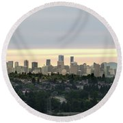 Downtown Sunset Round Beach Towel