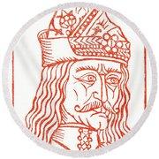 Dracula Or Vlad Tepes, 1491 Woodcut Round Beach Towel