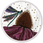 Dragon Fly And Echinacea Flower Round Beach Towel