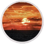 Round Beach Towel featuring the photograph Dramatic Atlantic Sunrise With Ghost Freighter by Bill Swartwout Fine Art Photography