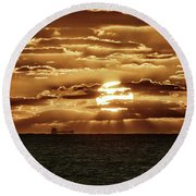 Round Beach Towel featuring the photograph Dramatic Atlantic Sunrise With Ghost Freighter In Goldtone by Bill Swartwout Fine Art Photography