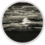 Round Beach Towel featuring the photograph Dramatic Atlantic Sunrise With Ghost Freighter In Monochrome by Bill Swartwout Fine Art Photography