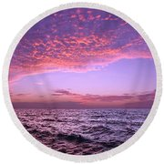 Dramatic Ocean And Sky Scene After Sunset Round Beach Towel