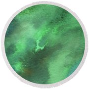 Dramatic Organic Green Abstract In Watercolor  Round Beach Towel