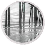 Dramatic Pier Sunrise In Black And White Round Beach Towel