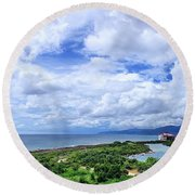 Dramatic Sky And Coastal Scenery Round Beach Towel