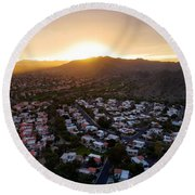 Dramatic South Mountain Sunset Round Beach Towel