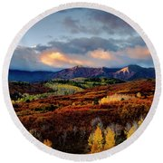 Dramatic Sunrise In The San Juan Mountains Of Colorado Round Beach Towel