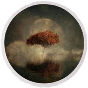 Dream Landscape With Full Moon Round Beach Towel