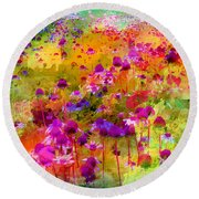 Dream Of Flowers Round Beach Towel