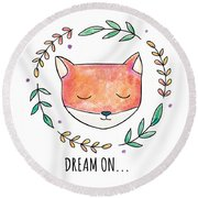 Dream On - Boho Chic Ethnic Nursery Art Poster Print Round Beach Towel