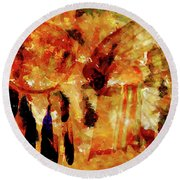 Round Beach Towel featuring the painting Dreamcatcher by Valerie Anne Kelly