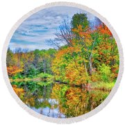 Round Beach Towel featuring the photograph Dreams Of Fall In The Finger Lakes by Lynn Bauer