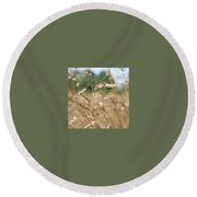 Round Beach Towel featuring the photograph Dried Grass Out Of Focus by Scott Lyons