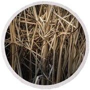 Dried Wild Grass II Round Beach Towel