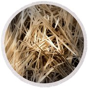 Dried Wild Grass I Round Beach Towel
