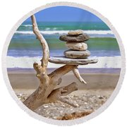 Drift Wood And Pebbles Round Beach Towel