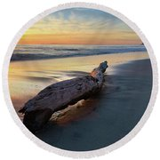 Drift Wood At Sunset II Round Beach Towel
