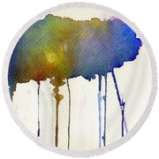 Round Beach Towel featuring the painting Dripping Universe by Bee-Bee Deigner