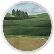 Drive In The Palouse Round Beach Towel