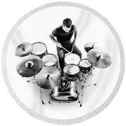 Drummer From Above Round Beach Towel