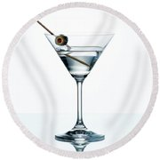 Dry Martini With Green Olive In Cocktail Glass Over White Backgr Round Beach Towel