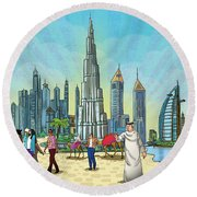 Dubai Illustration  Round Beach Towel