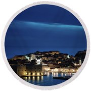 Dubrovnik Old Town At Night Round Beach Towel