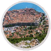 Dubrovnik Panorama From The Hill Round Beach Towel