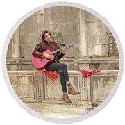 Dubrovnik Street Musician Round Beach Towel