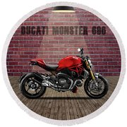 Ducati Monster 696 Red Wall Round Beach Towel