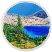 Round Beach Towel featuring the painting Duck Pass by Kevin Daly