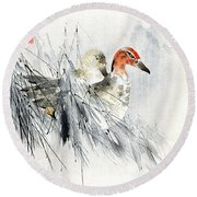 Ducks Round Beach Towel