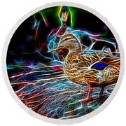 Ducks On Shore Wizard Round Beach Towel