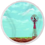 Dueling Tones Windmill Round Beach Towel