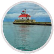 Duluth Lighthouse 2 Round Beach Towel