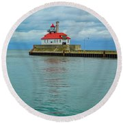 Duluth Lighthouse 2 Round Beach Towel