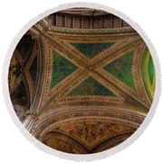 Round Beach Towel featuring the photograph Dumo De Orvieto Ceiling by Tim Bryan