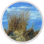 Round Beach Towel featuring the photograph Dune Grass In The Sky by Bill Swartwout Fine Art Photography