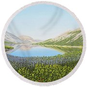 Round Beach Towel featuring the painting Yukon Spring by Kenneth M Kirsch
