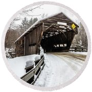 Durgin Covered Bridge Round Beach Towel