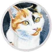 Dushi Calico Cat Painting Round Beach Towel