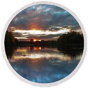 Round Beach Towel featuring the photograph Dusk Aquarelle by Davor Zerjav