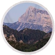 Round Beach Towel featuring the photograph Dusk At Pena Montanesa by Stephen Taylor