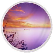 Dusk At Waterloo, Trinidad Round Beach Towel