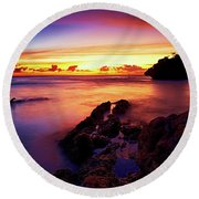 Dusk, Columbus Bay Round Beach Towel